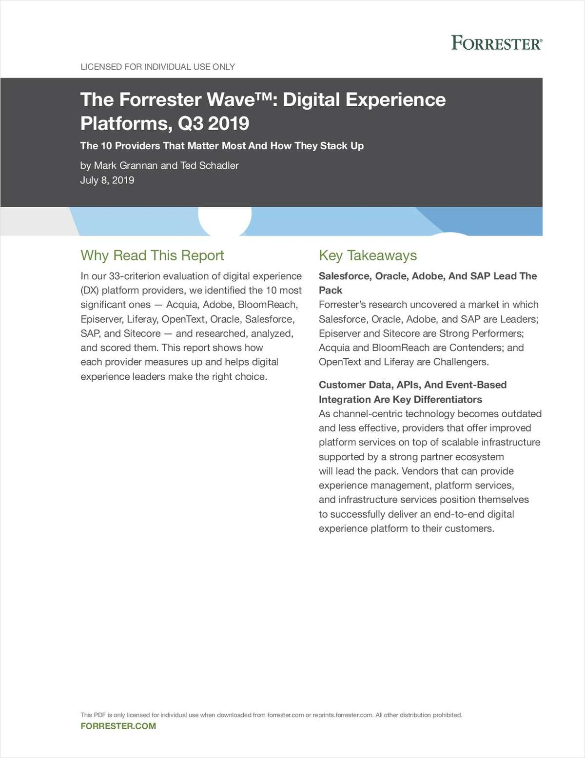 The Forrester Wave™: Digital Experience Platforms, Q3 2019