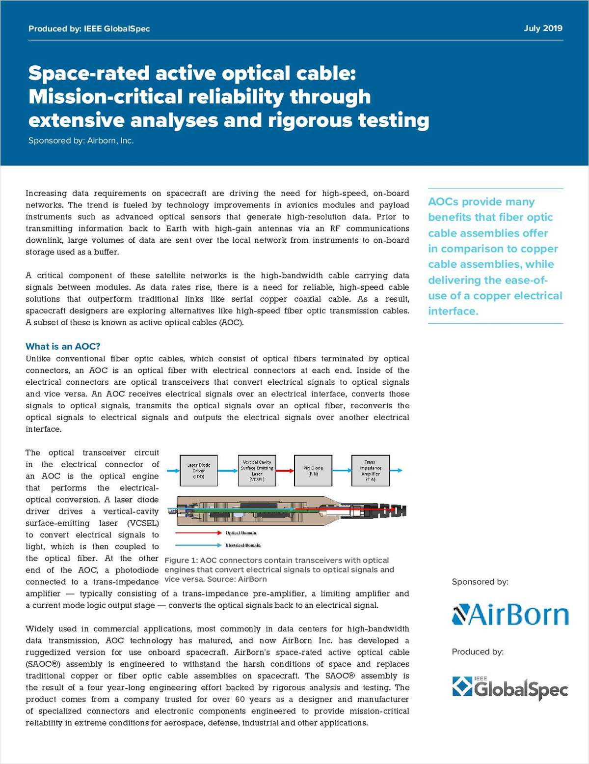 AirBorn Space-Rated Active Optical Cable Whitepaper