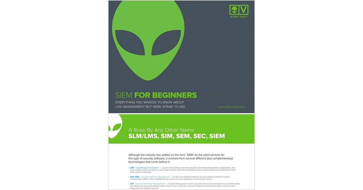 Beginners Guide to SIEM, Free AlienVault White Paper