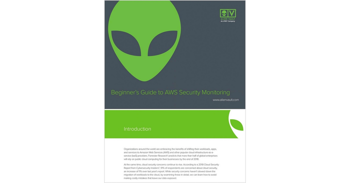 Beginner's Guide to AWS Security Monitoring, Free AlienVault