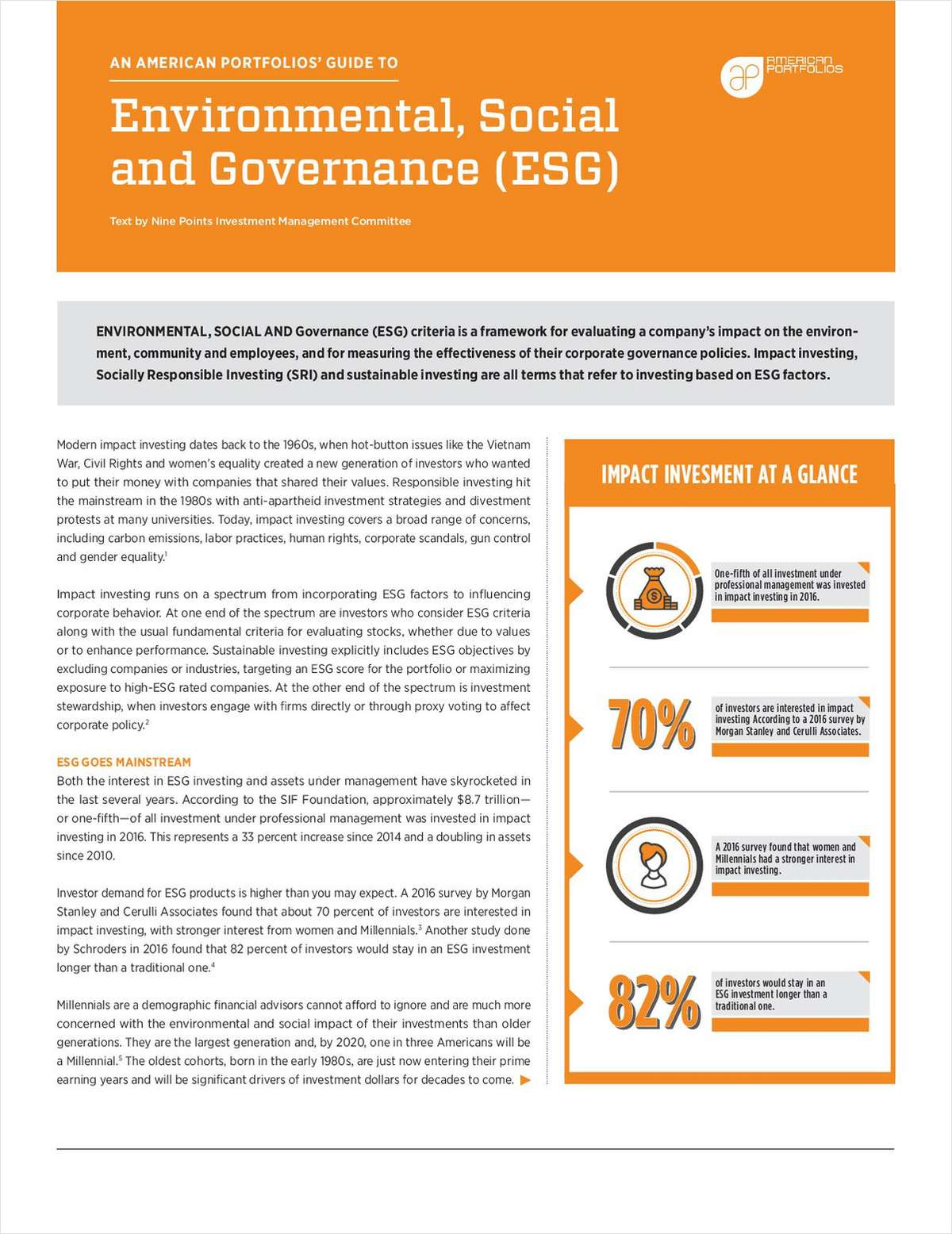 A Guide to Environmental, Social and Governance (ESG) Investing