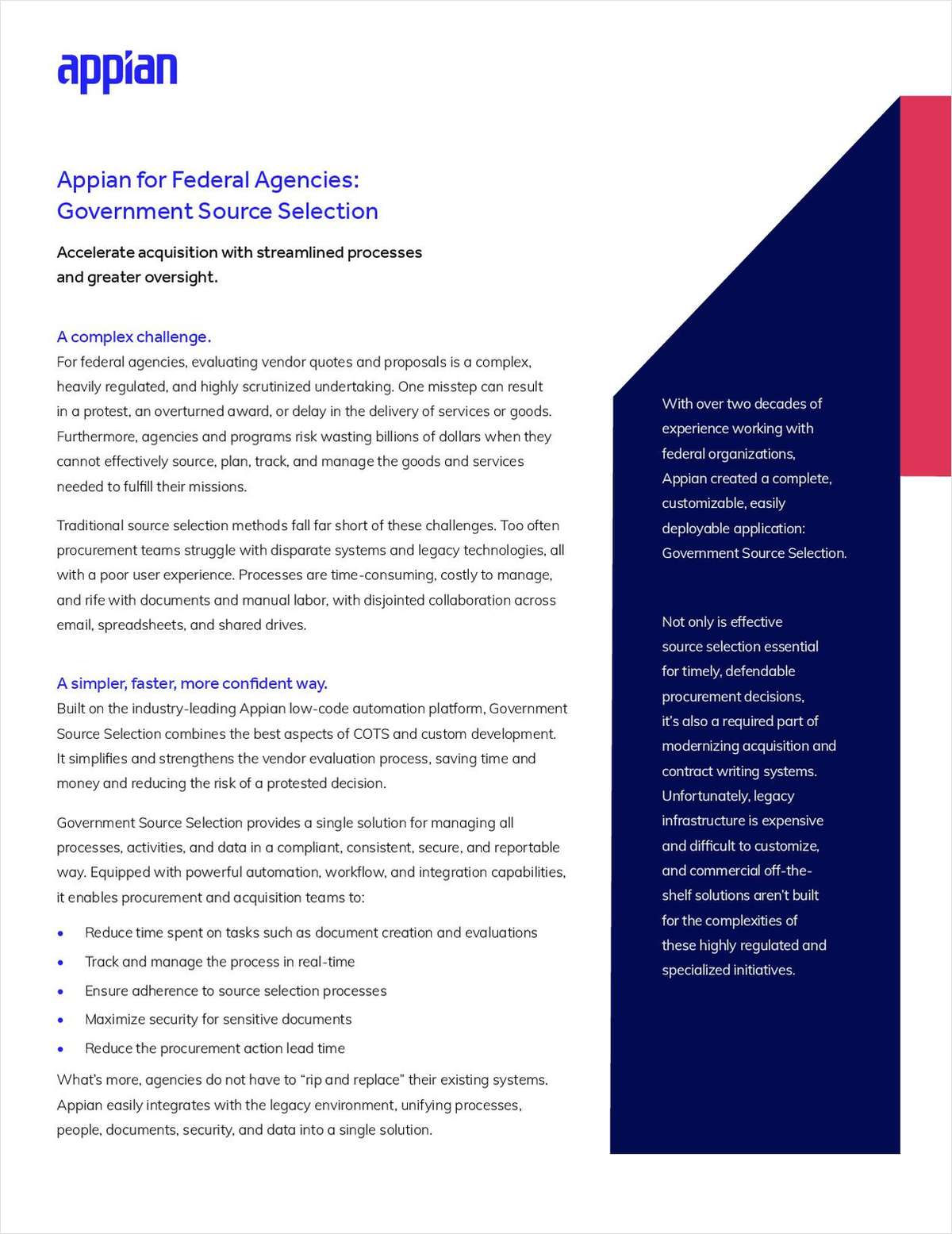 Appian for Federal Agencies: Government Source Selection