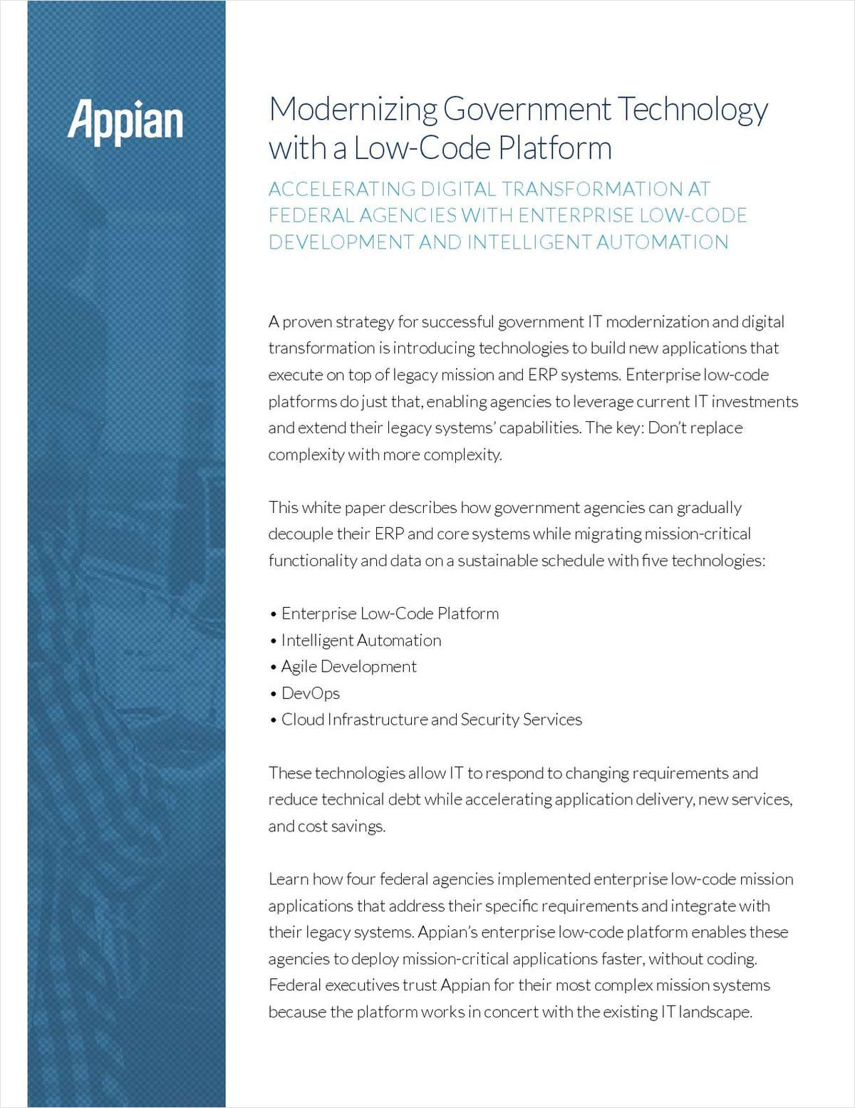 Modernizing Government Technology with a Low-Code Platform