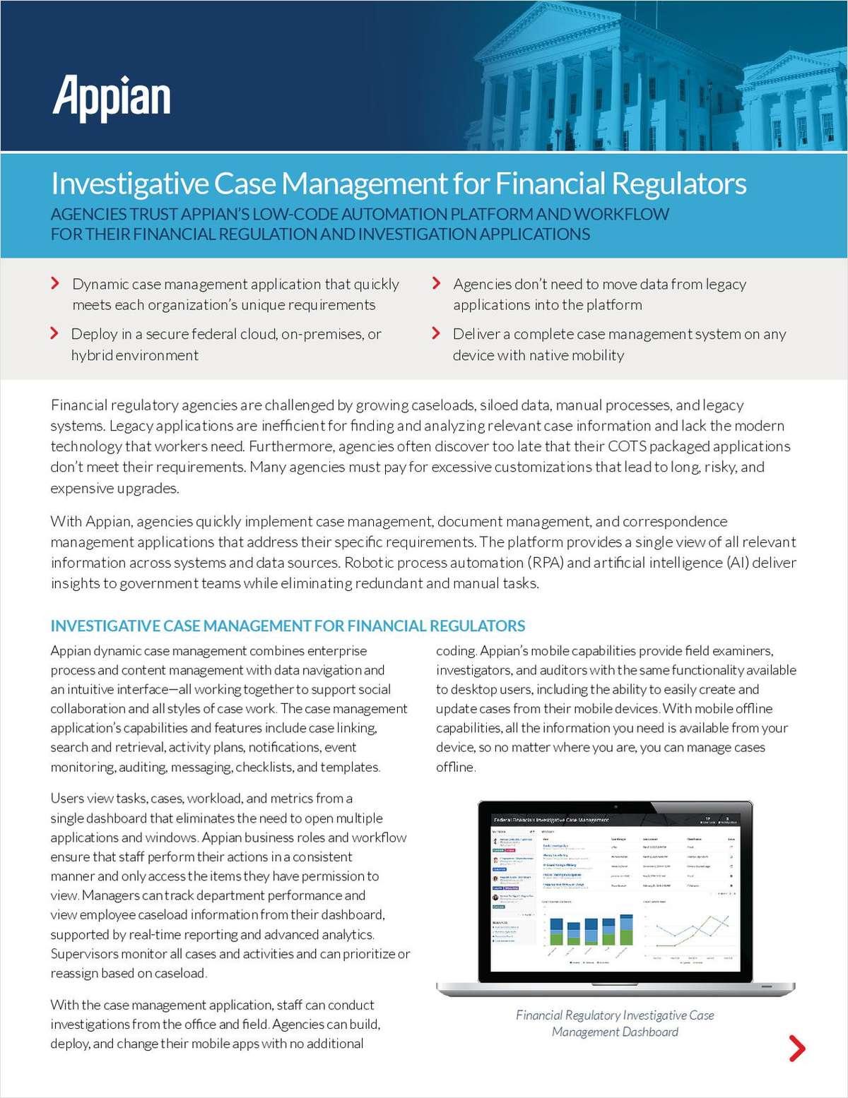 Investigative Case Management for Financial Regulators
