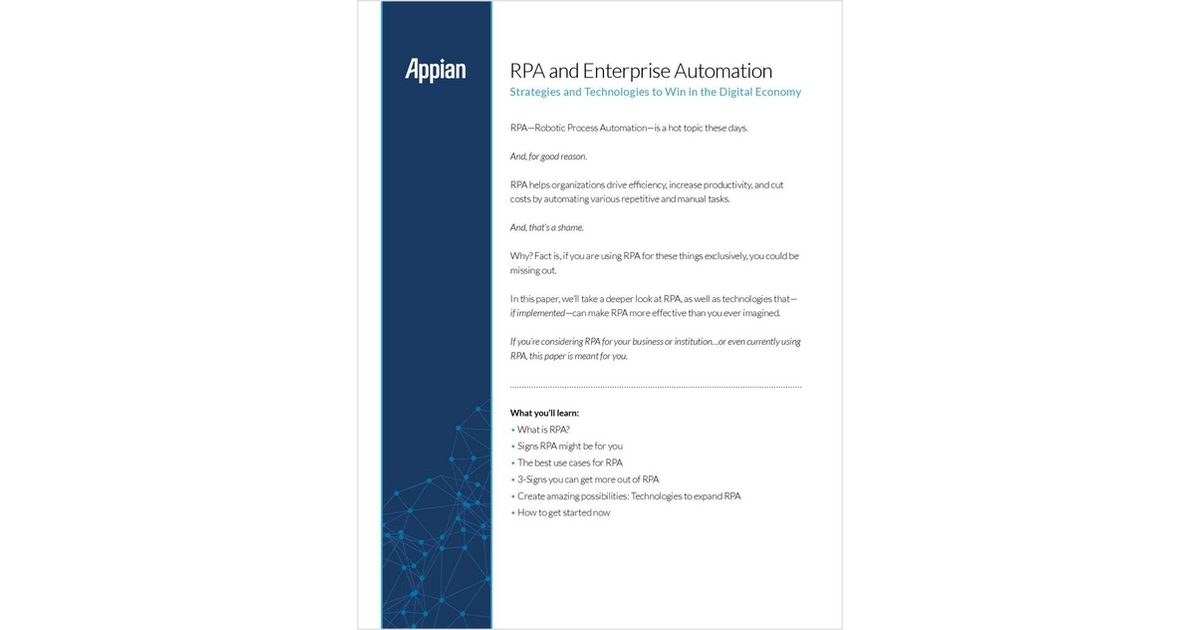 RPA and Enterprise Automation: Technologies and Strategies
