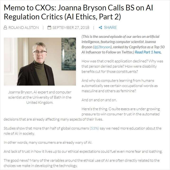 Memo to CXOs: Joanna Bryson Calls BS on AI Regulation Critics (AI Ethics, Part 2)