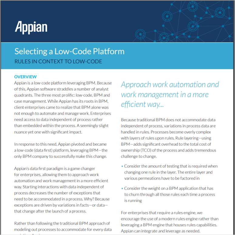 Selecting a Low-Code Platform -- Rules in Context to Low-Code