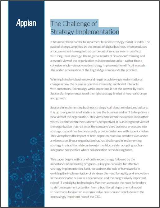 The Challenge of Strategy Implementation
