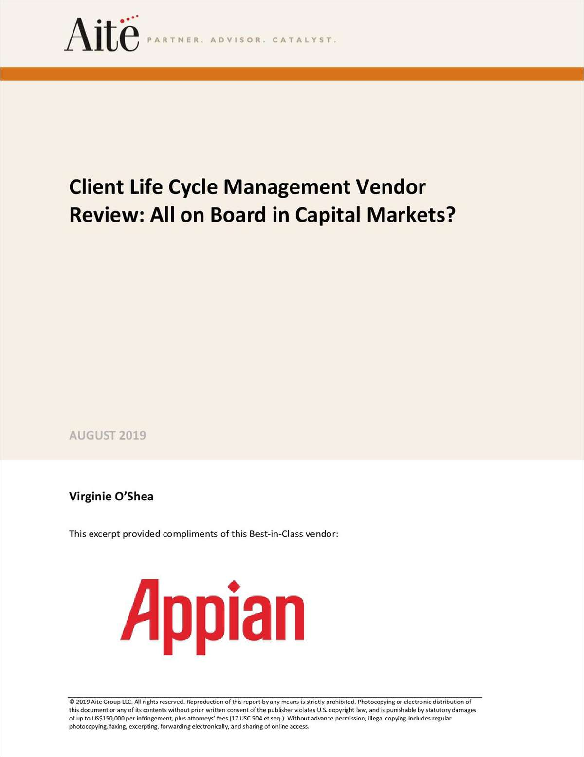 Aite Impact Matrix: Client Life Cycle Management Vendor Review: All on Board in Capital Markets?