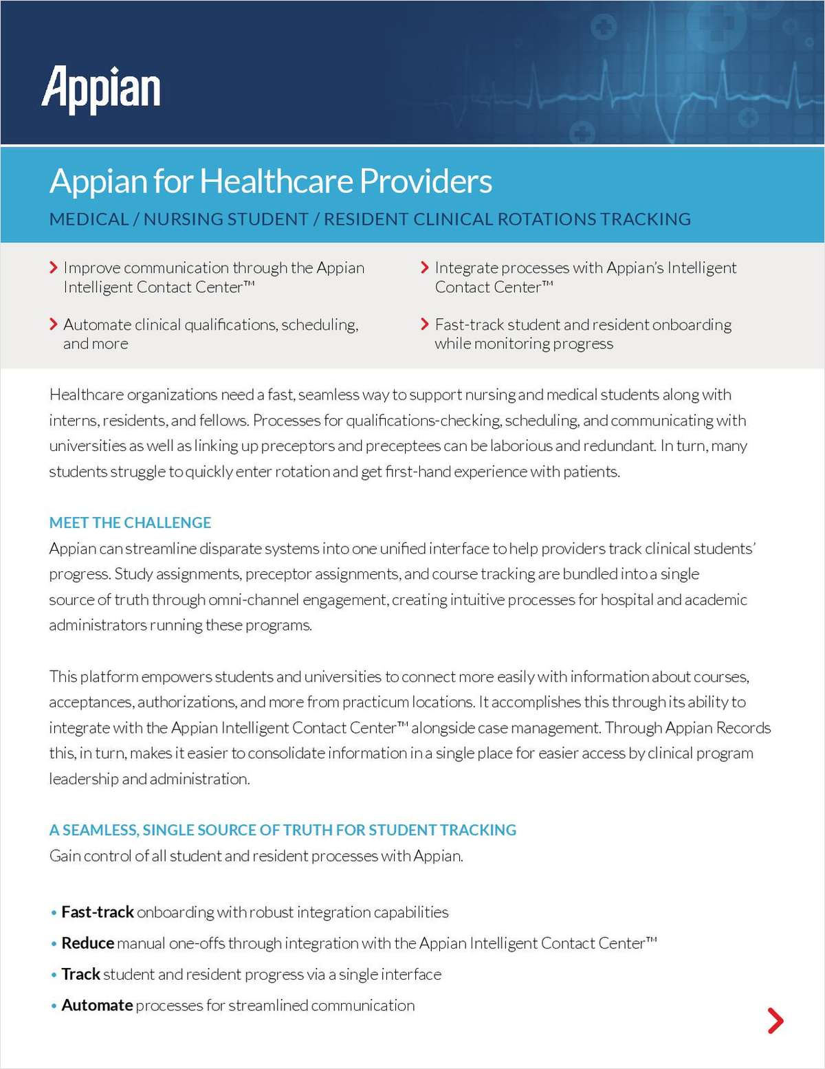 Appian for Healthcare Providers: Medical / Nursing Student / Resident Clinical Rotations Tracking