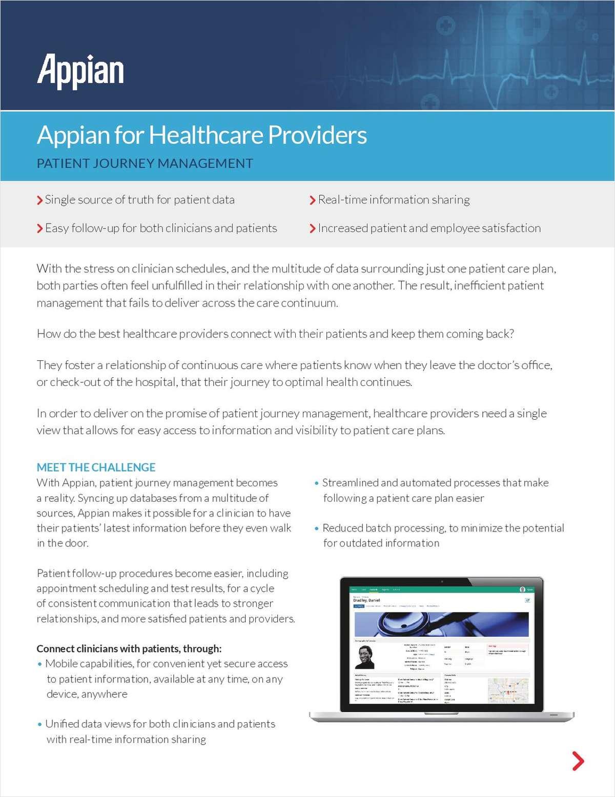Appian for Healthcare Providers: Patient Journey Management