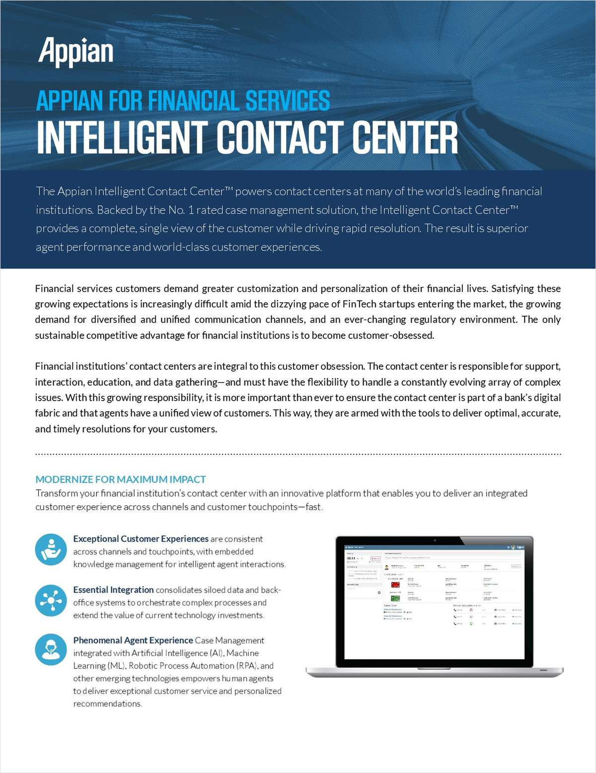 Appian for Financial Services: Intelligent Contact Center