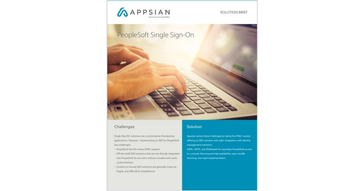 PeopleSoft Single Sign-On, Free Appsian Solution Brief