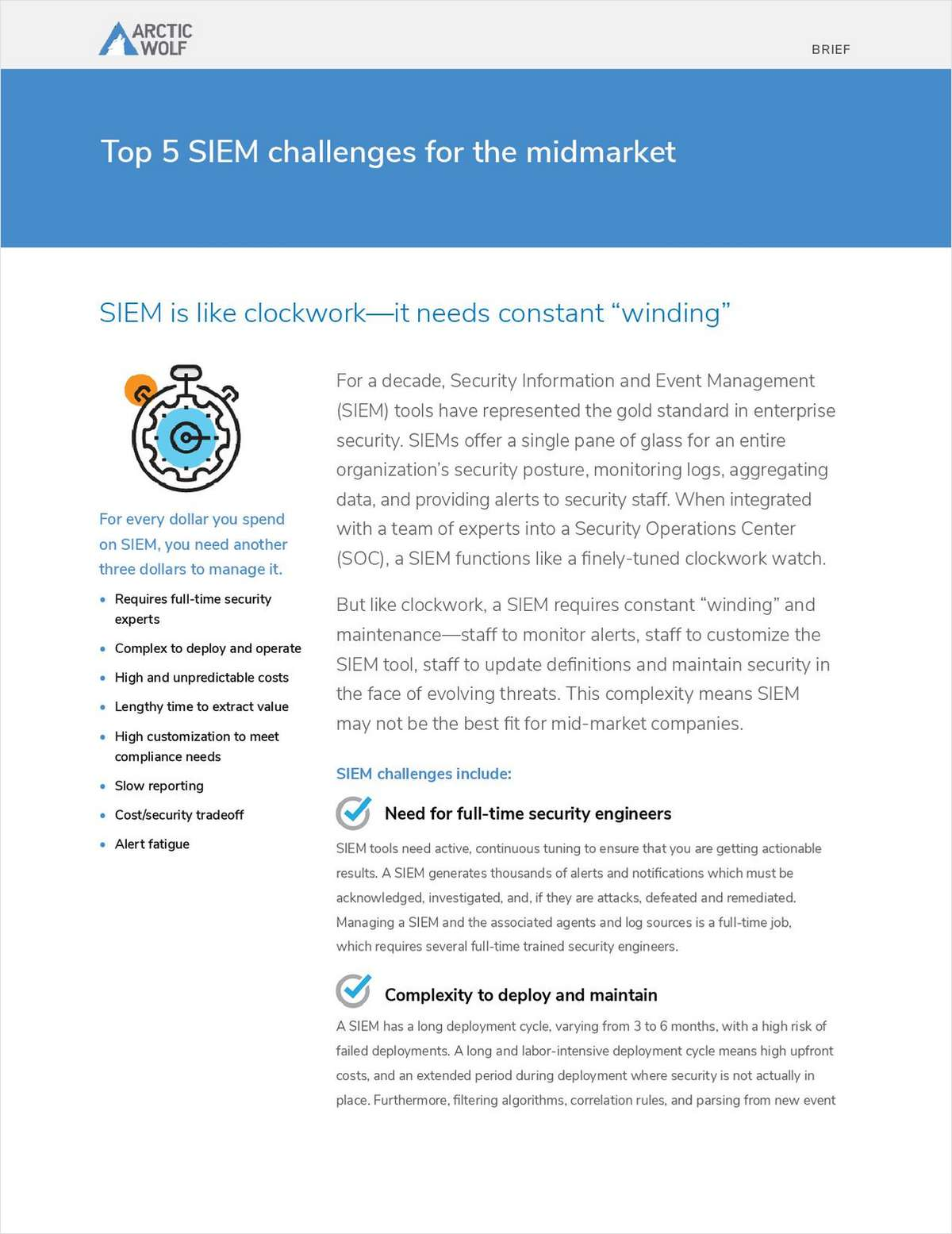 Top 5 SIEM Challenges for the MidMarket