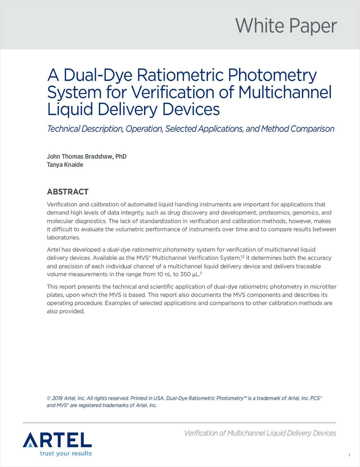 A Dual-Dye Ratiometric Photometry System for Verification of Multichannel Liquid Delivery Devices