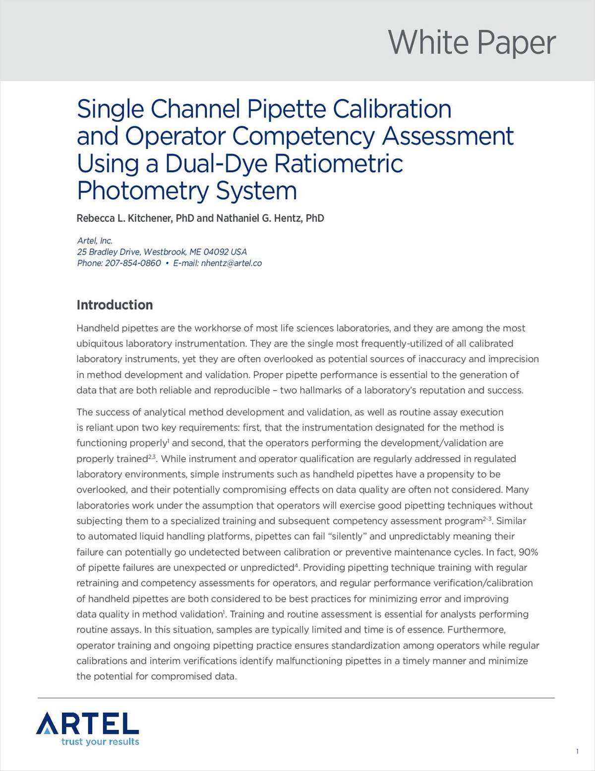 Single Channel Pipette Calibration and Operator Competency Assessment Using a Dual-Dye Ratiometric Photometry System