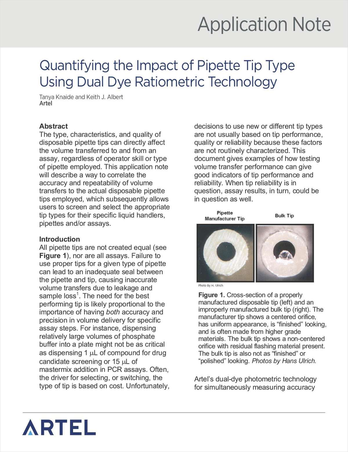 Quantifying the Impact of Pipette Tip Type Using Dual Dye Ratiometric Technology