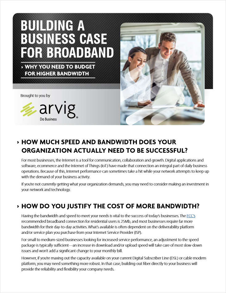BUILDING A BUSINESS CASE FOR BROADBAND