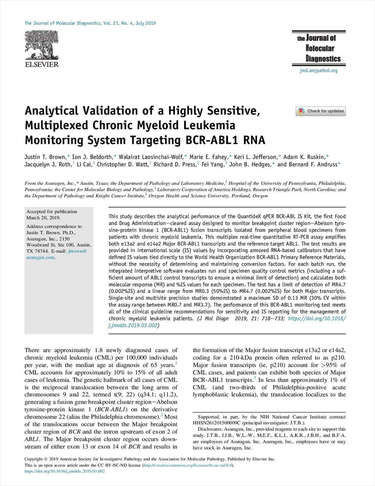 Analytical Validation of a Highly Sensitive, Multiplexed Chronic Myeloid Leukemia Monitoring System Targeting BCR-ABL1 RNA