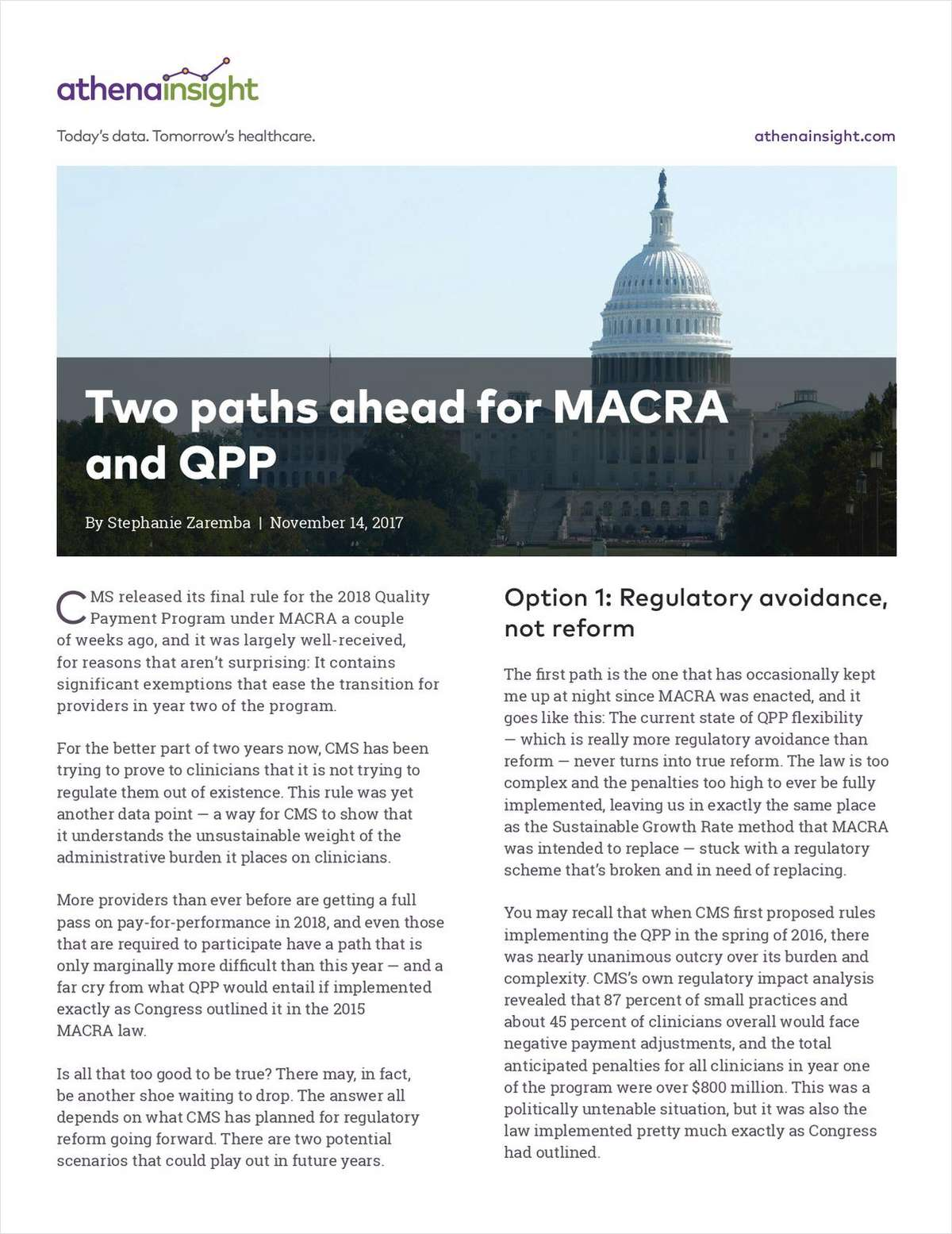 Two Paths Ahead for MACRA and QPP