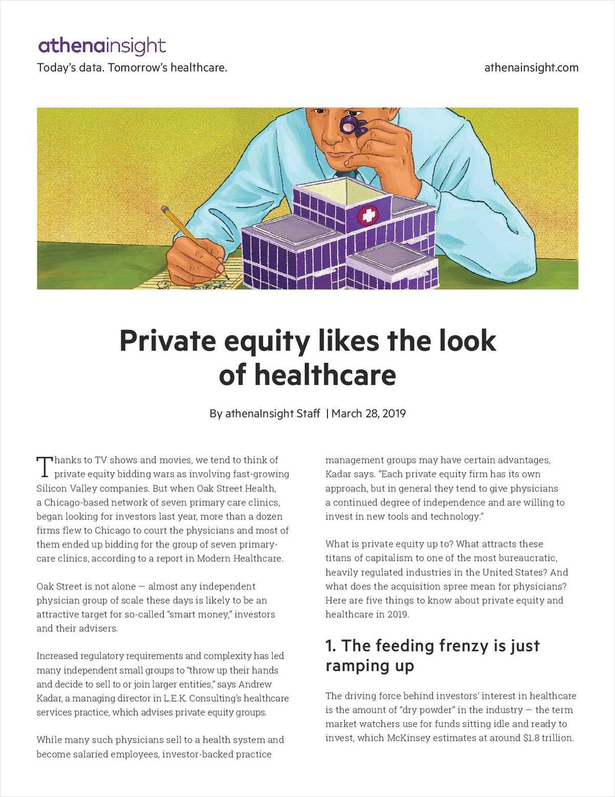 Article: Private equity likes the look of healthcare