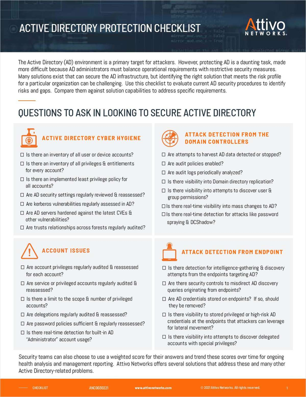 Active Directory Protection Checklist