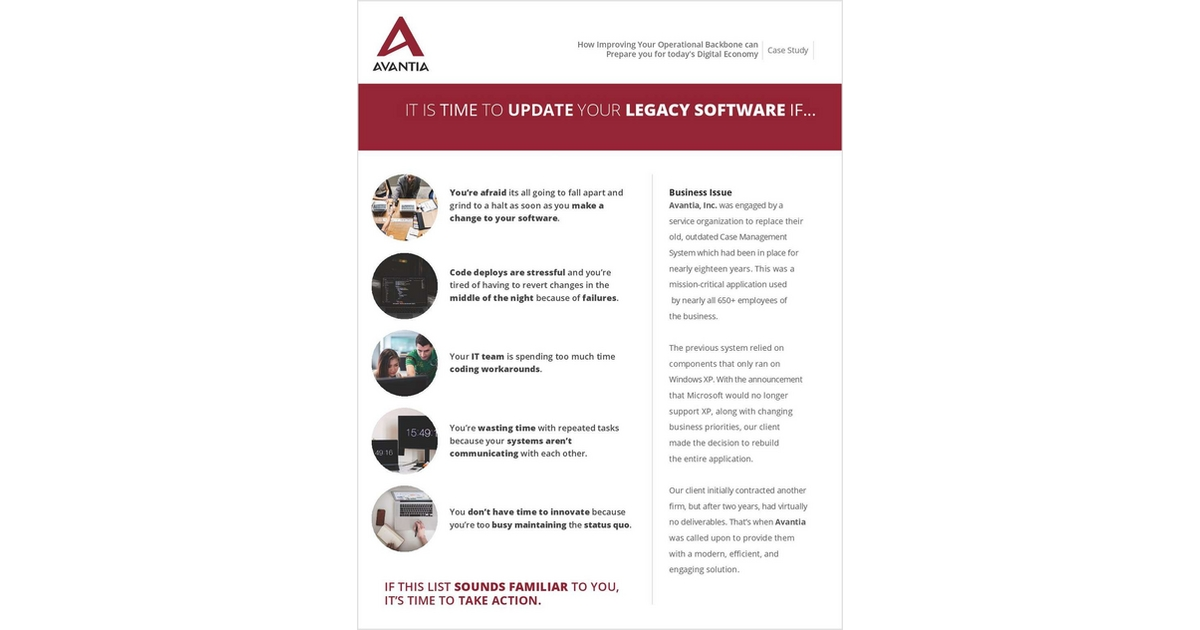IT IS TIME TO UPDATE YOUR LEGACY SOFTWARE IF   , Free