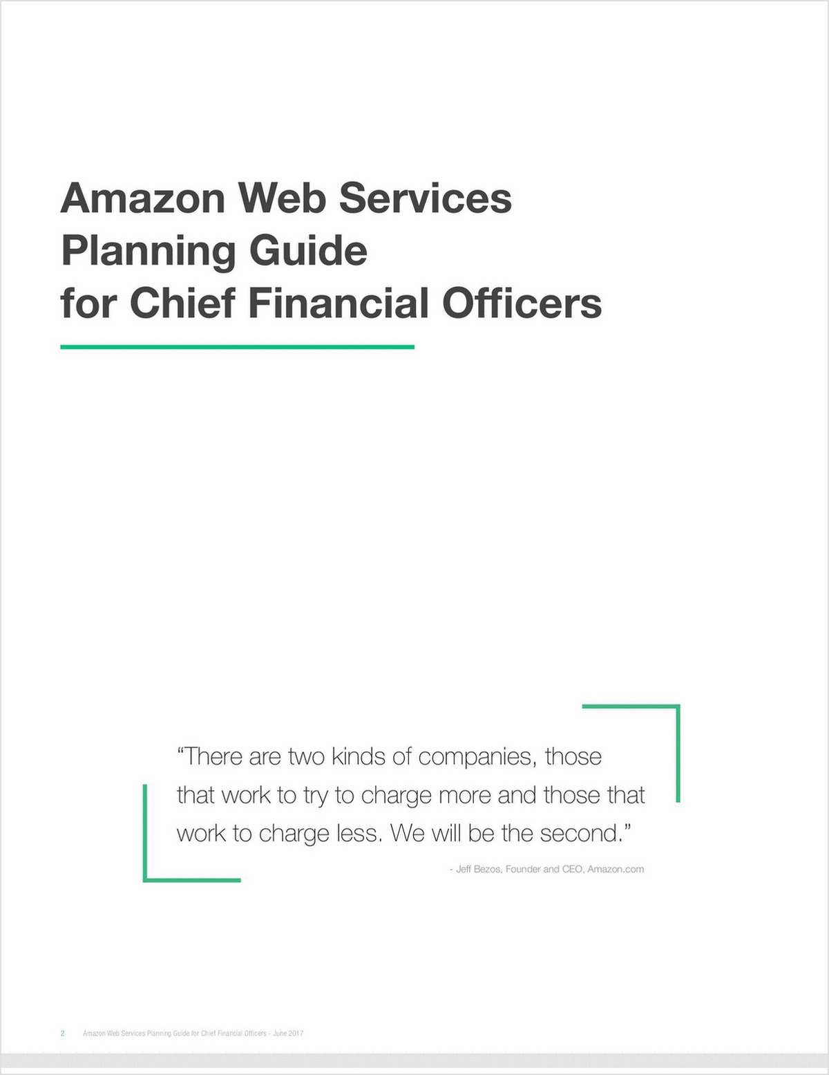Amazon Web Services Planning Guide for Chief Financial Officers