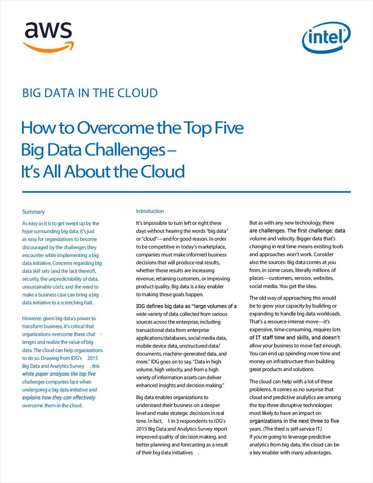 0c529961113 How to Overcome the Top Five Big Data Challenges Free White Paper
