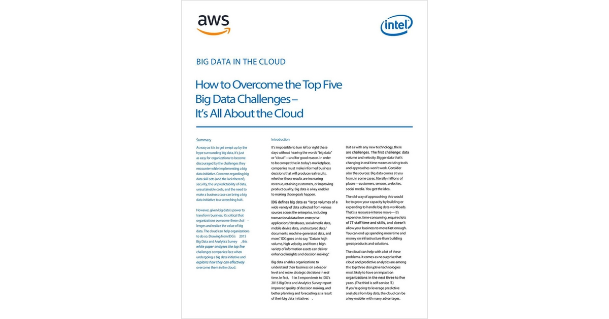 8121b891279 How to Overcome the Top Five Big Data Challenges