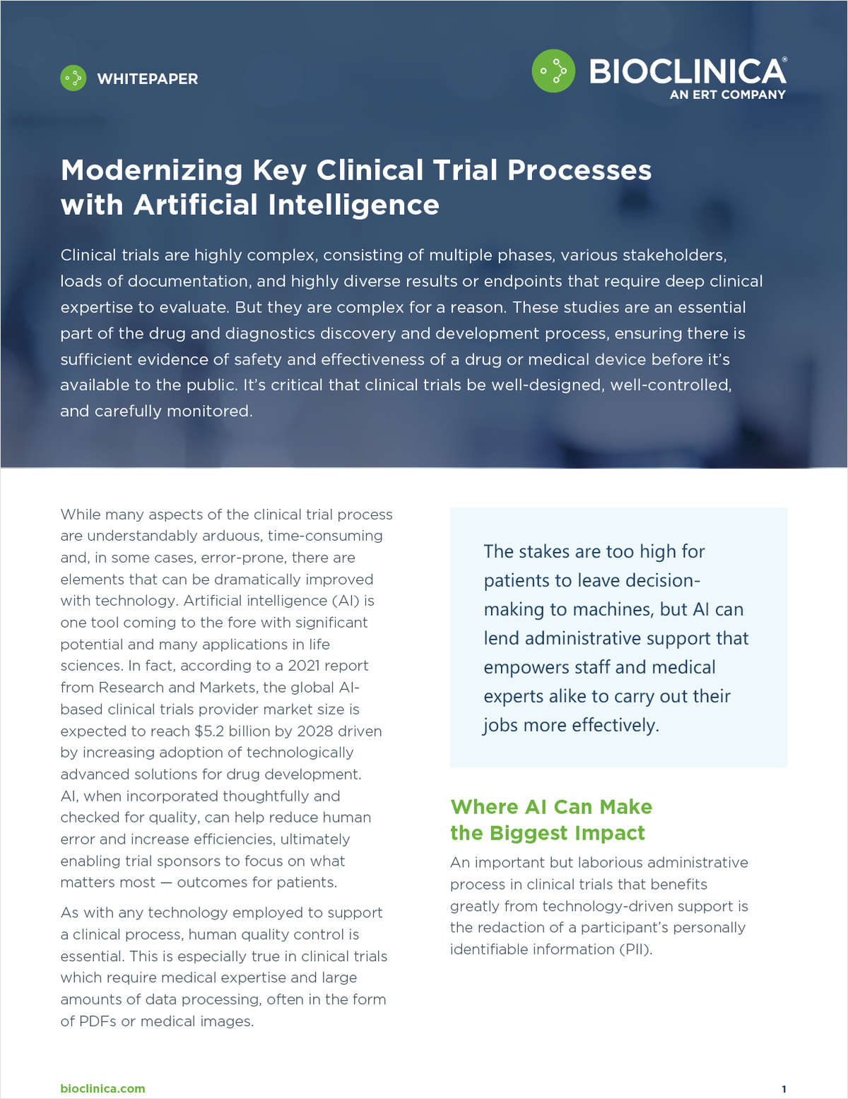 Modernizing Key Clinical Trial Processes with Artificial Intelligence