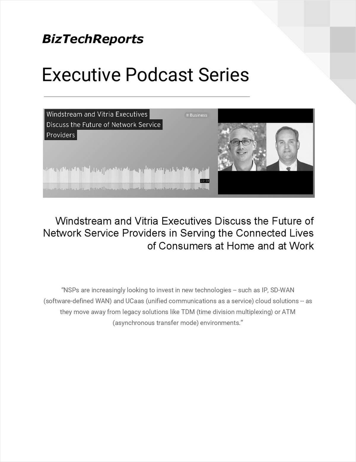 Windstream and Vitria Executives Discuss the Future of Network Service Providers in Serving the Connected Lives of Consumers at Home and at Work