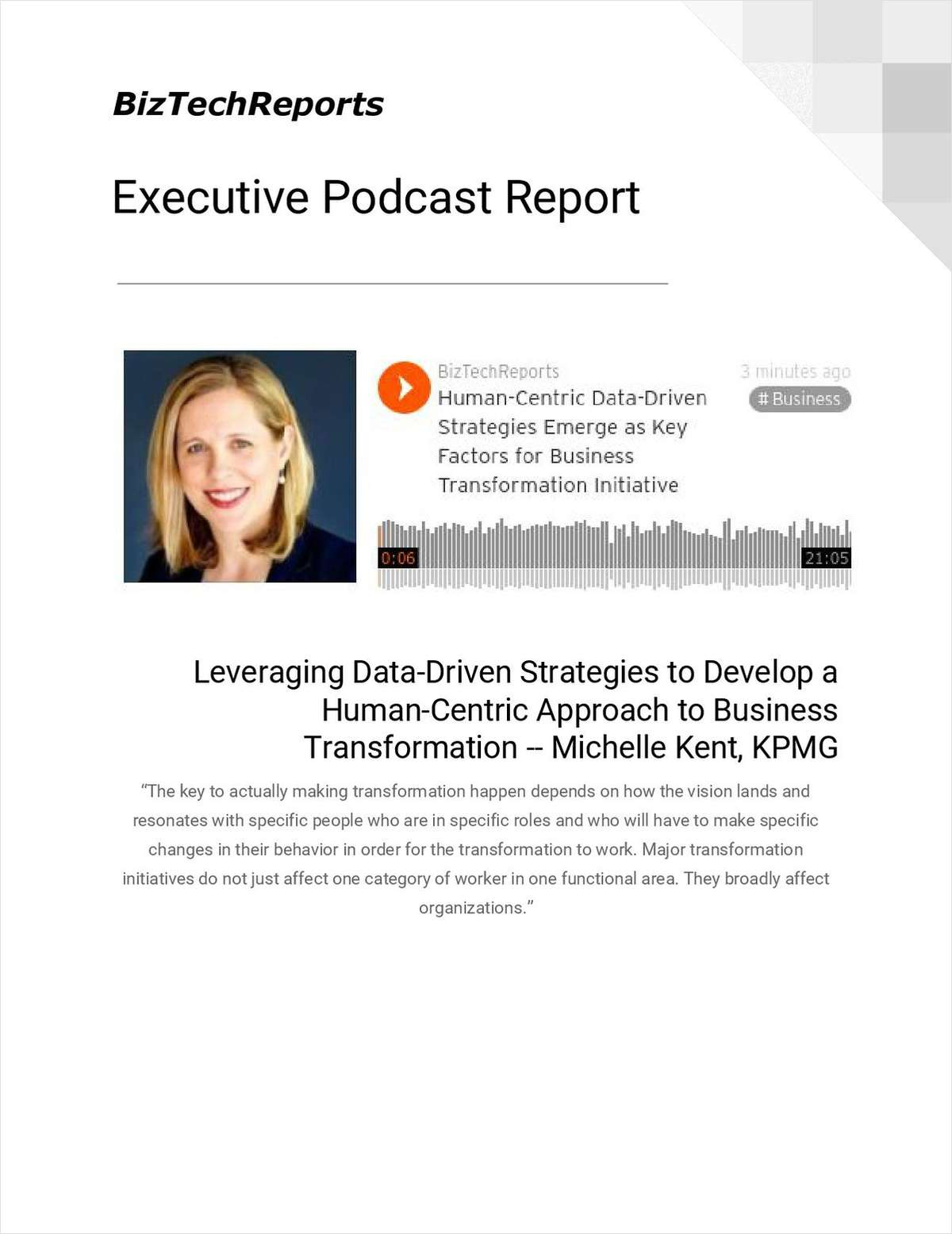 Leveraging Data-Driven Strategies to Develop a Human-Centric Approach to Business Transformation -- Michelle Kent, KPMG