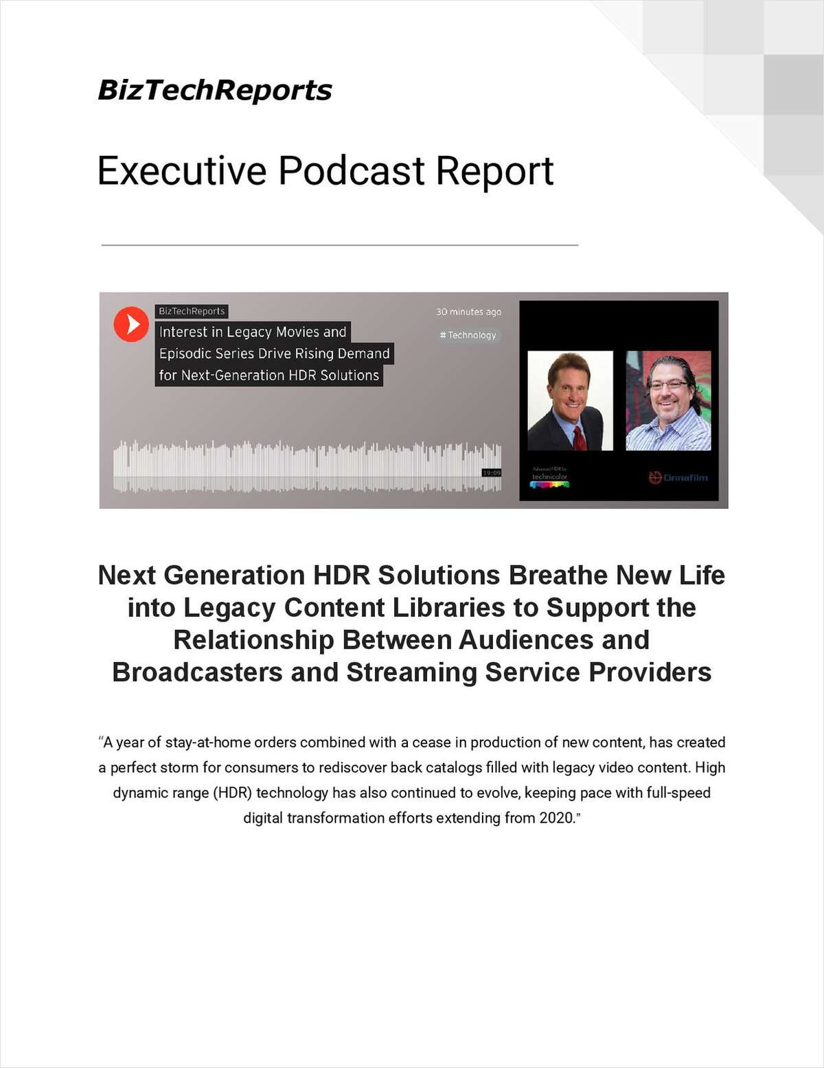 Next Generation HDR Solutions Breathe New Life into Legacy Content Libraries
