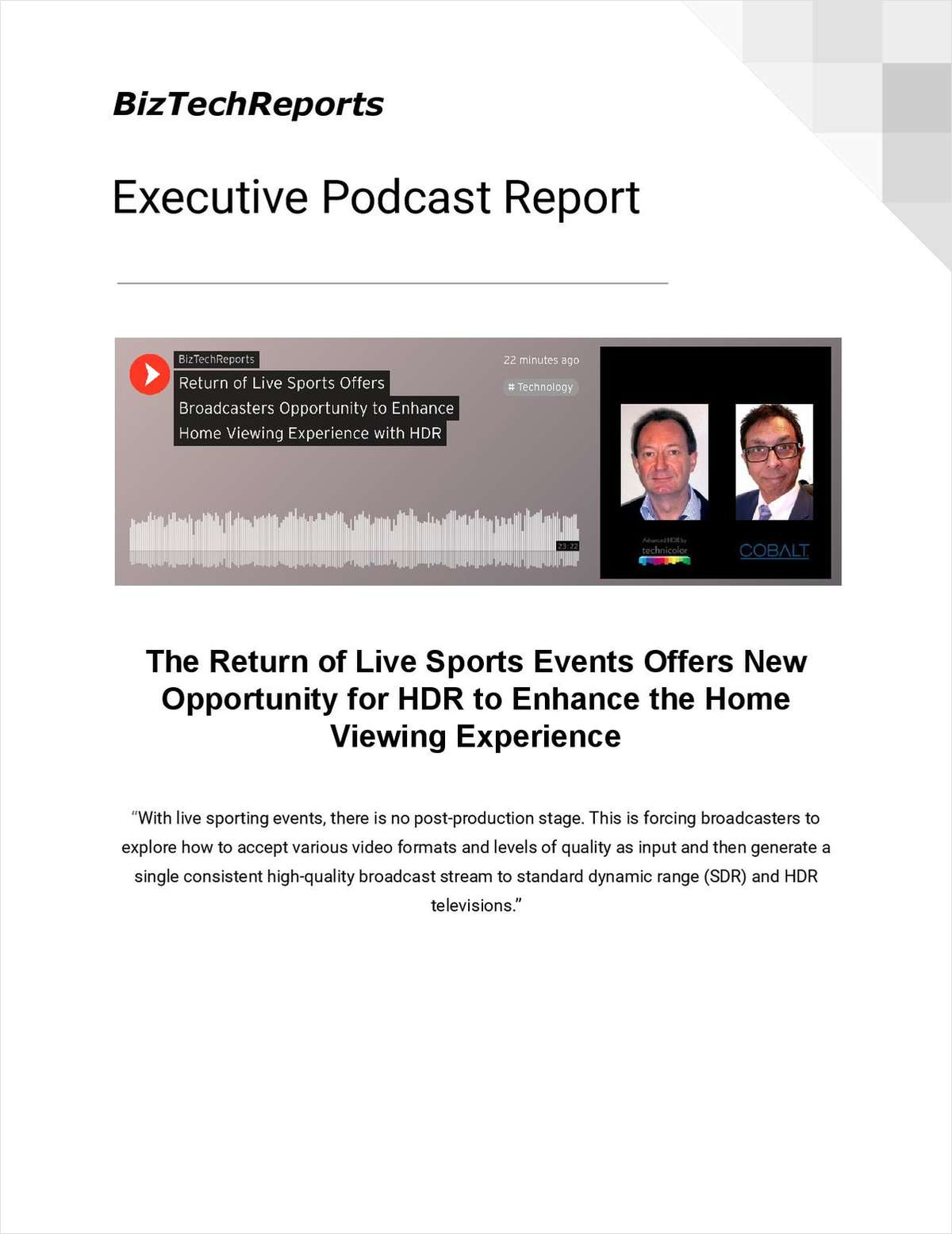 The Return of Live Sports Events Offers New Opportunity for HDR to Enhance the Home Viewing Experience