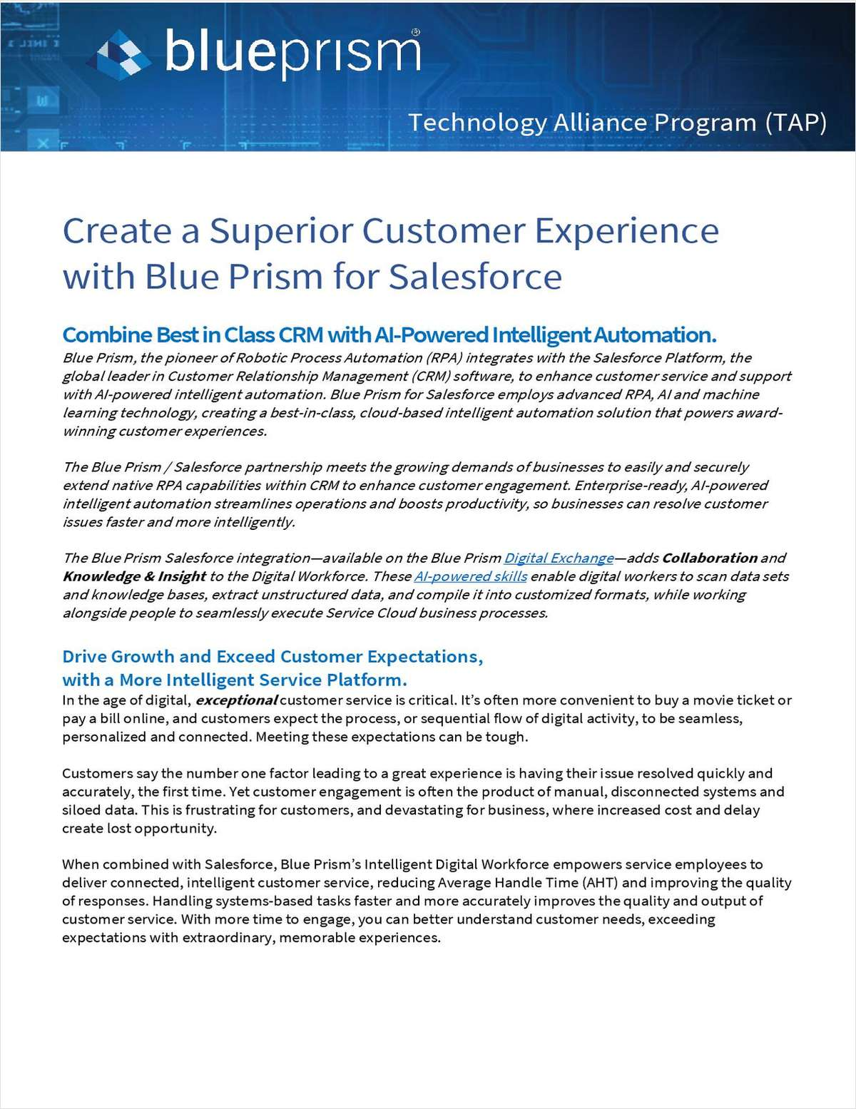 Blue Prism + Service Cloud: Streamline Customer Service Operations, Boost Agent Productivity and Resolve Issues Faster and More Intelligently