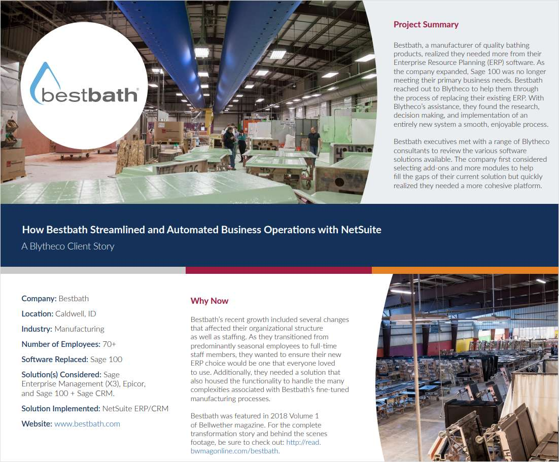 How Bestbath Transformed Their 50 Year Old Operations with a Modern Cloud ERP