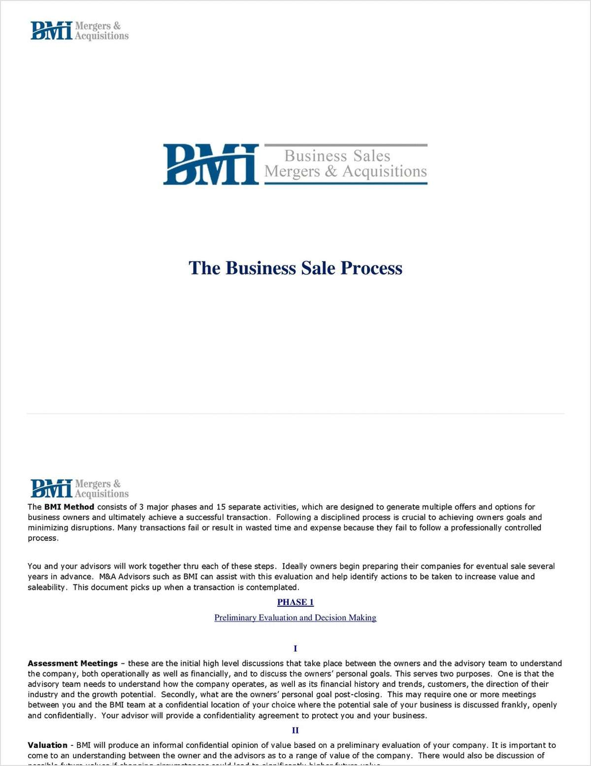 The Business Sale Process