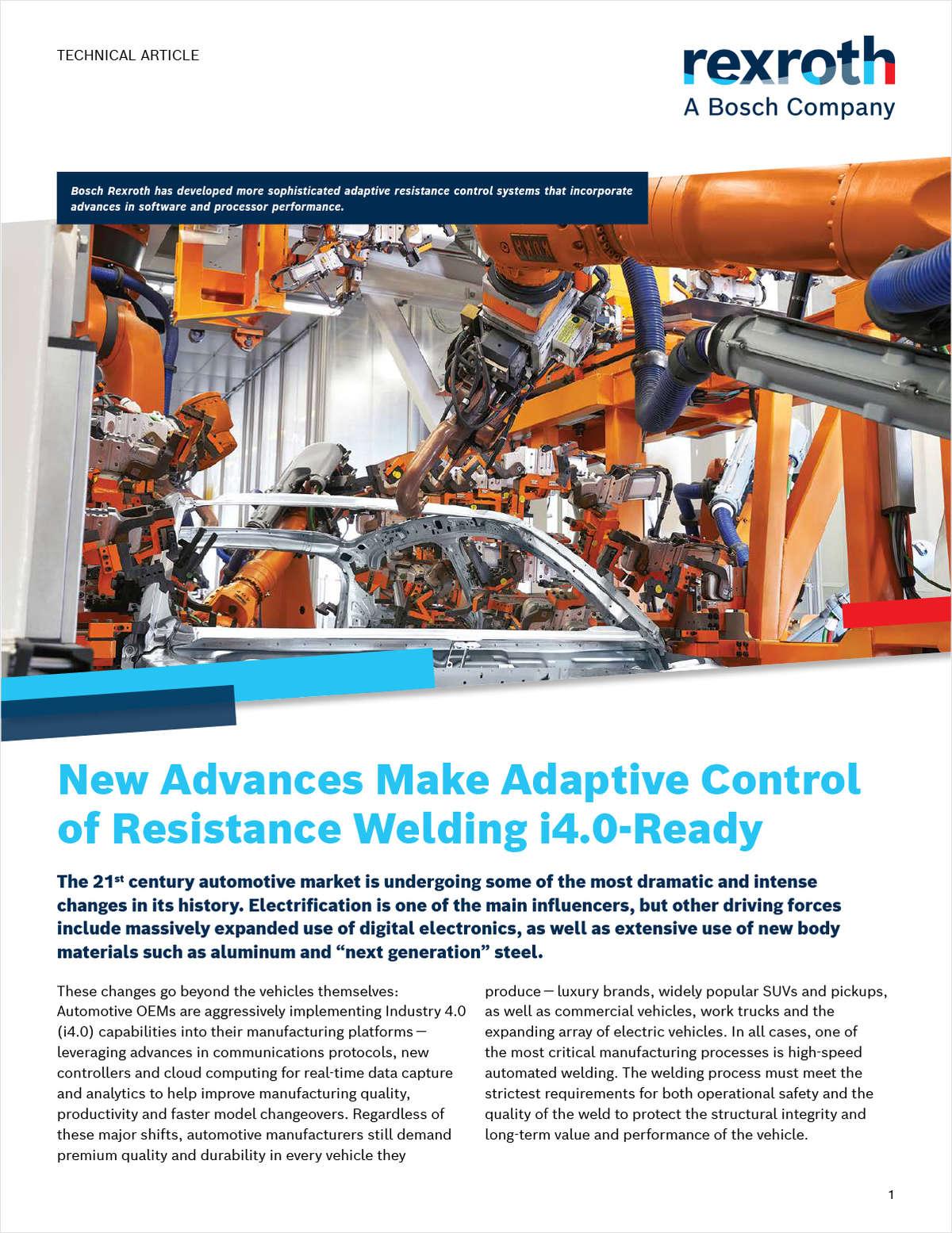 New Advances Make Adaptive Control of Resistance Welding i4.0-Ready