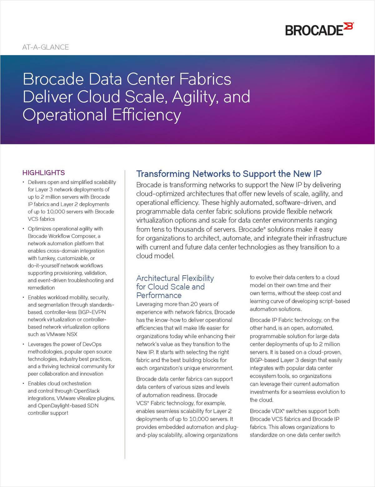 Brocade Data Center Fabrics Deliver Cloud Scale, Agility, and Operational Efficiency
