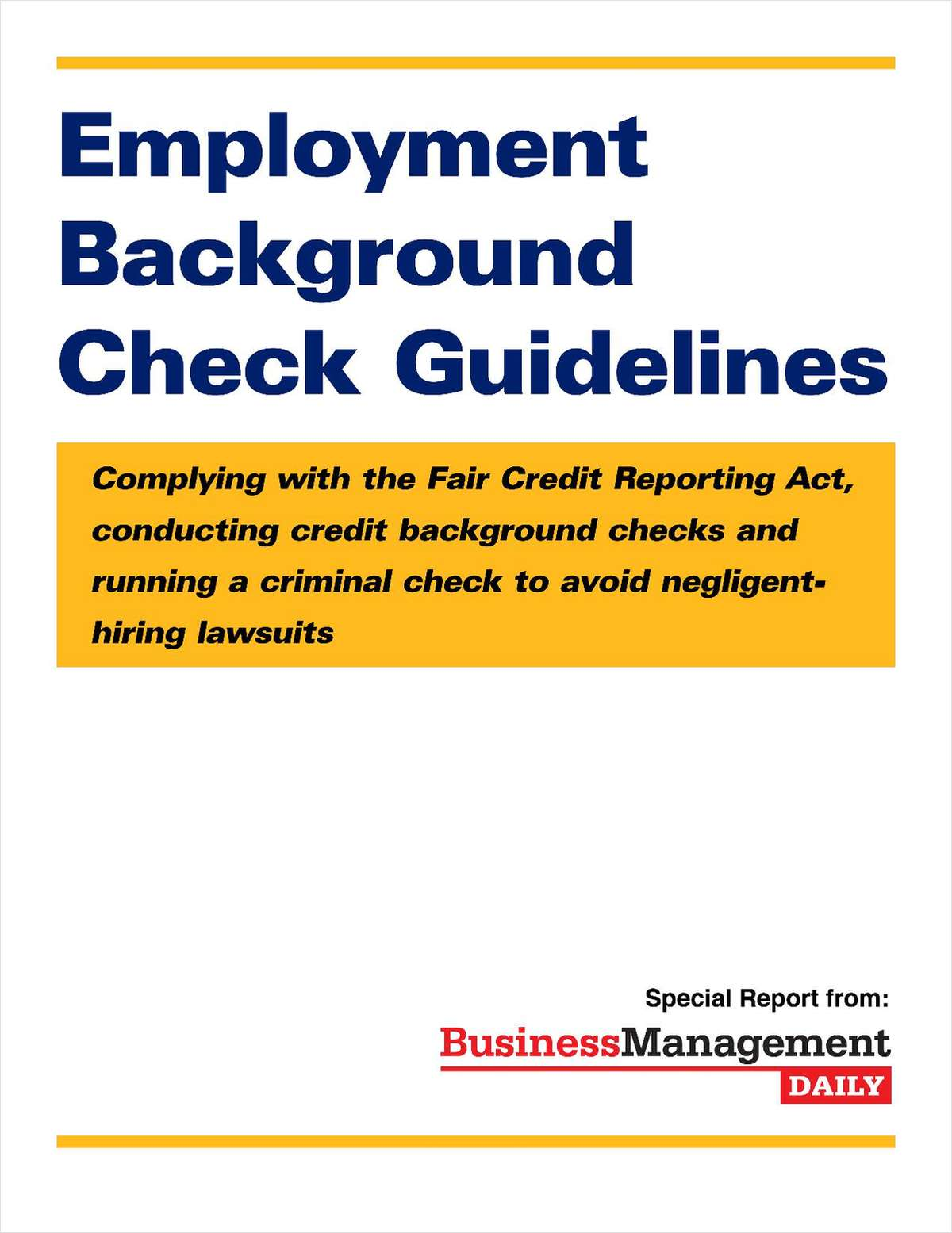 Employment Background Check Guidelines