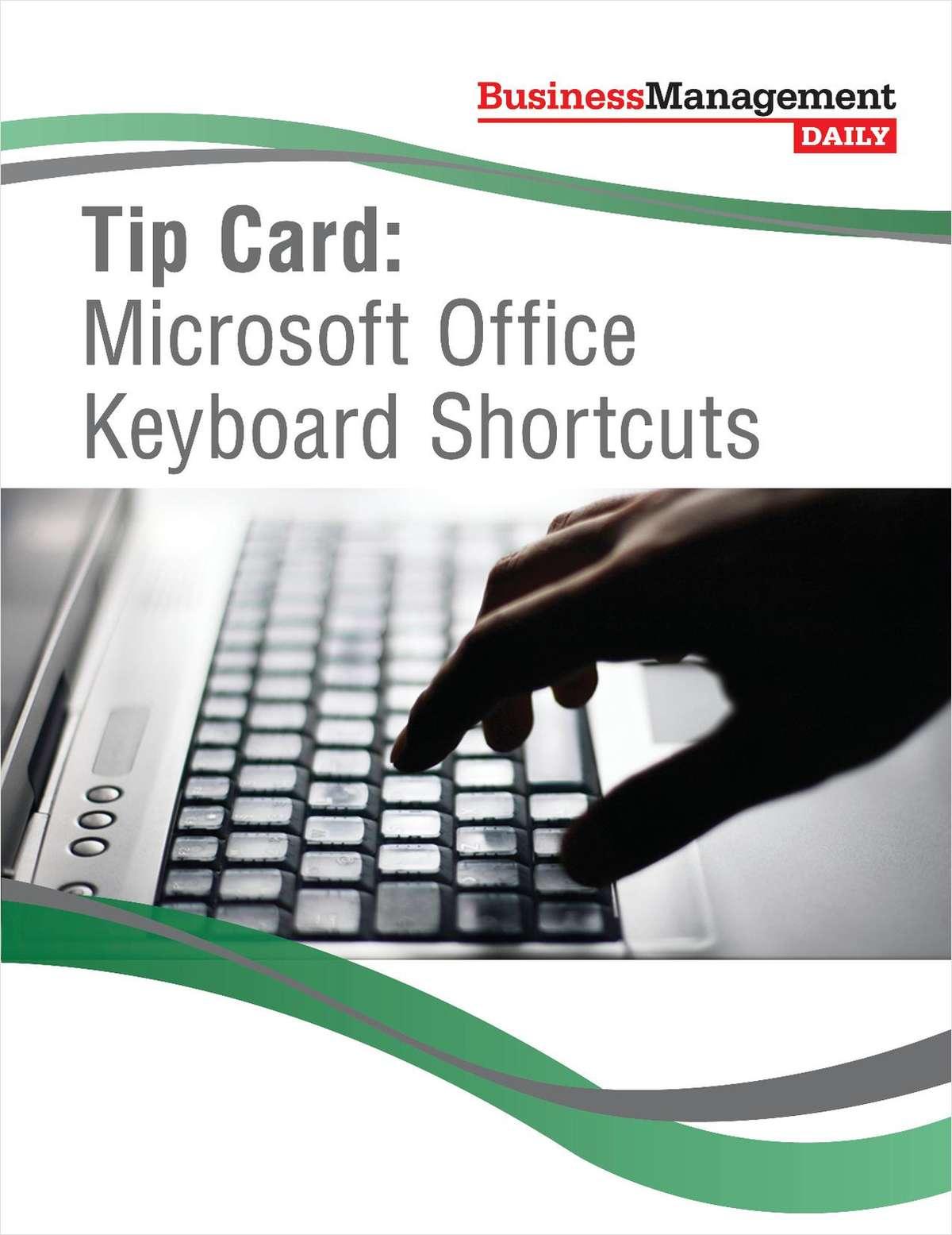 Tip Card: Microsoft Office Keyboard Shortcuts