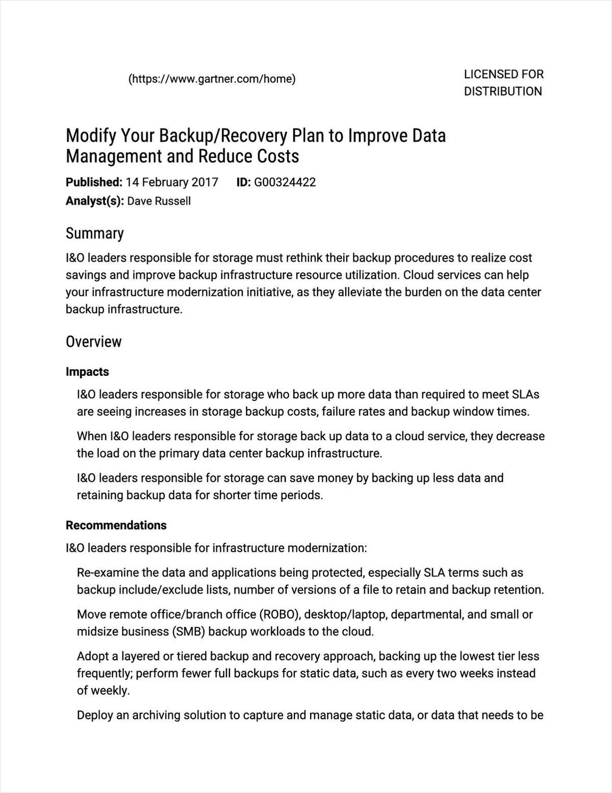 Gartner: Modify Your Backup Recovery Plan