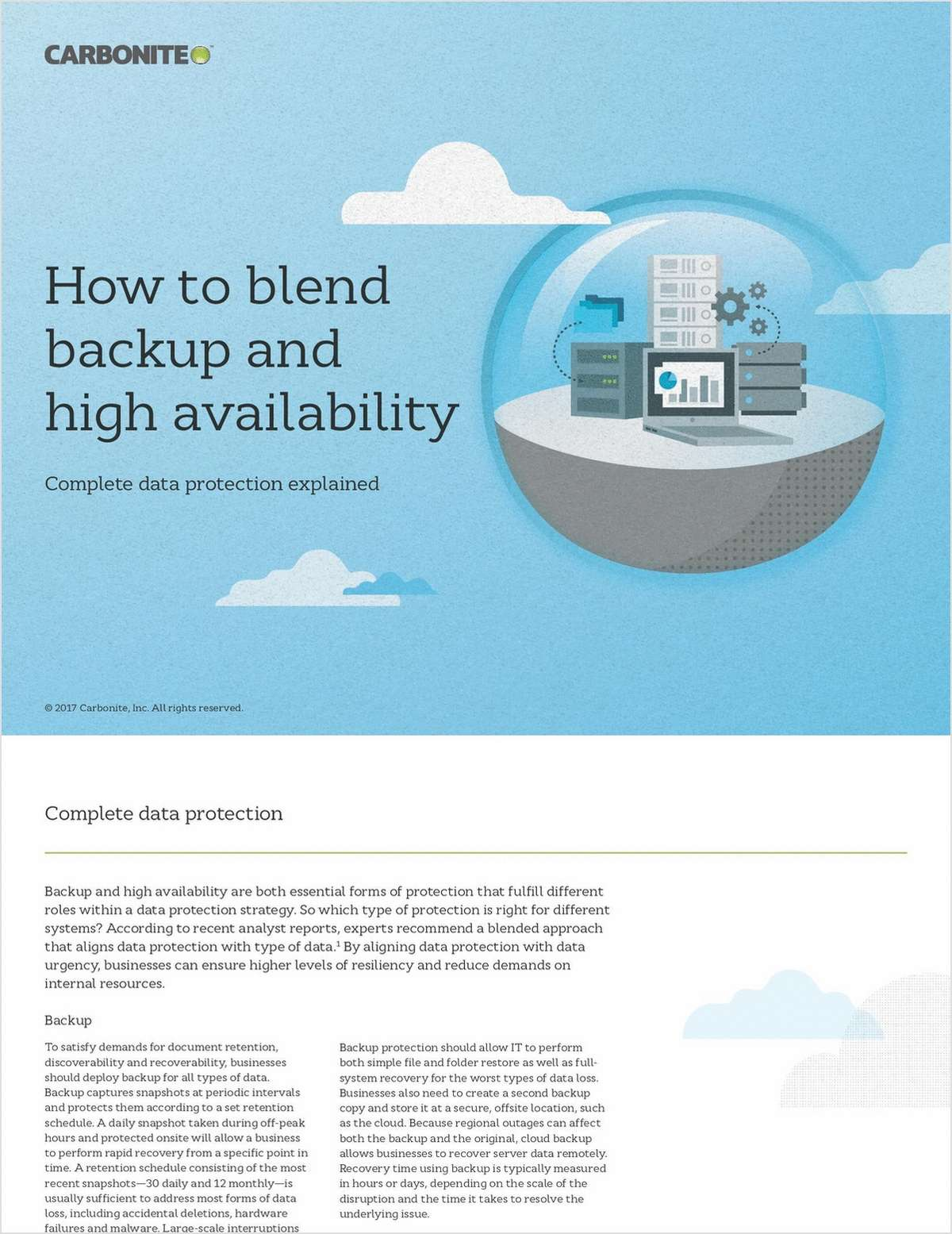 How to Blend Backup and High Availability