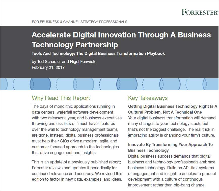 Accelerate Digital Innovation Through A Business  Technology Partnership
