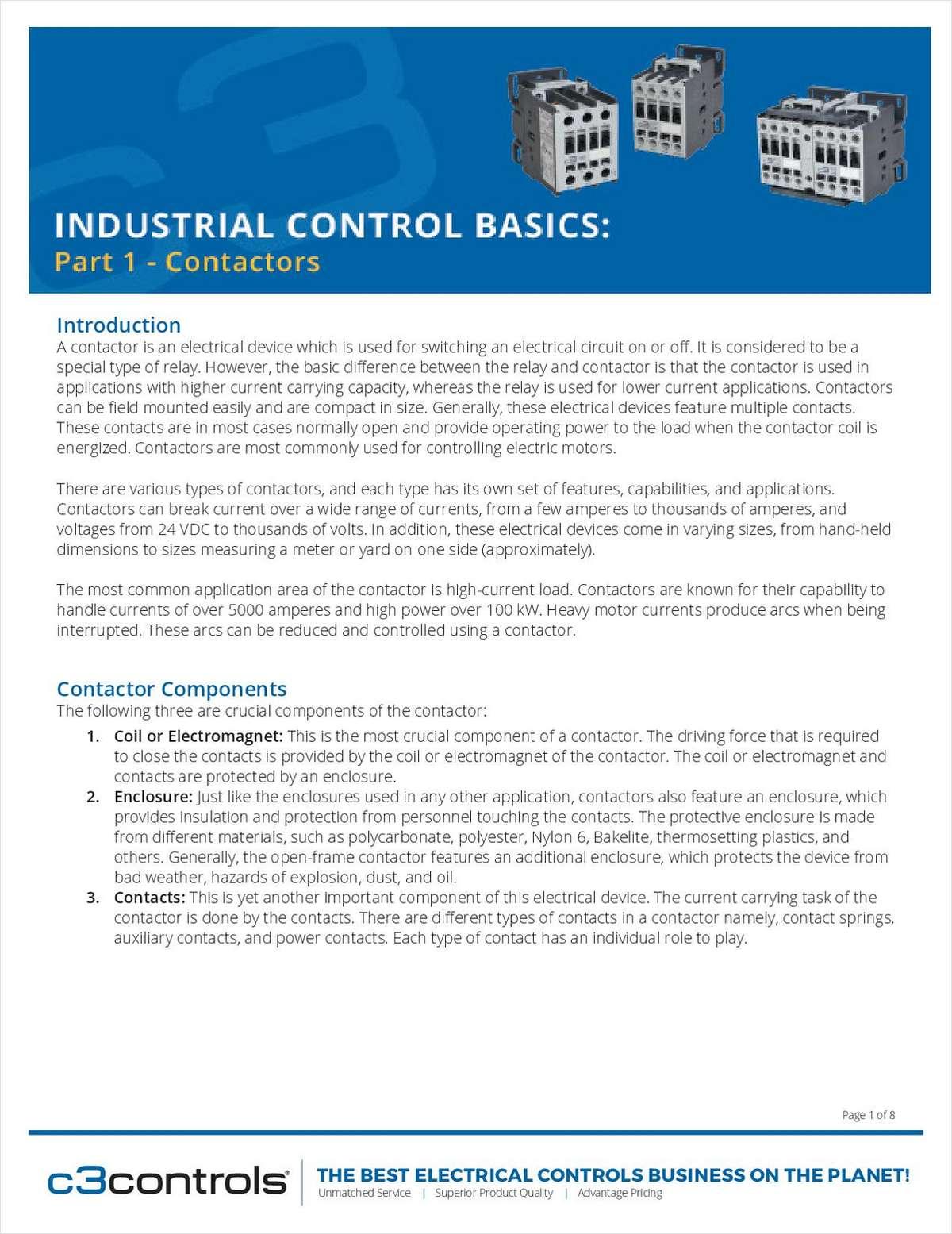 Industrial Control Basics: Contactors, Free Engineering com