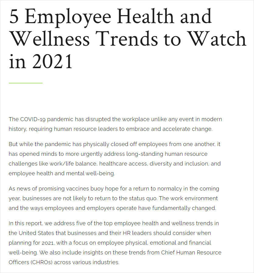 5 Employee Health and Wellness Trends to Watch in 2021