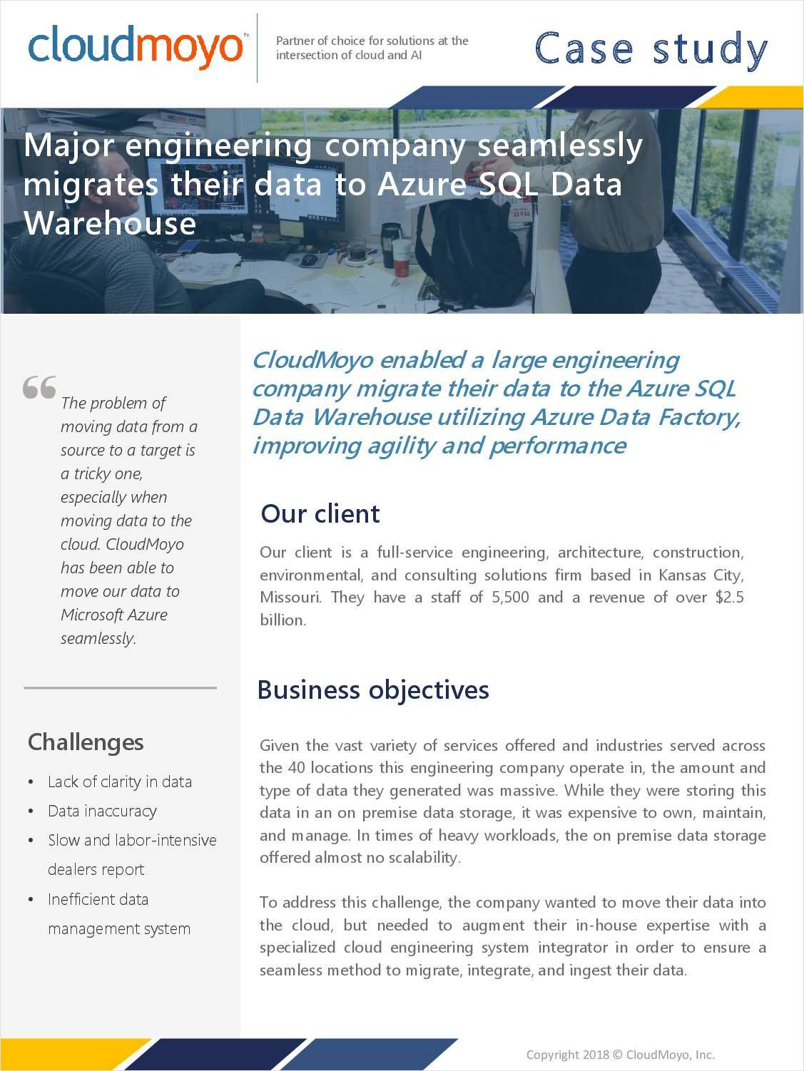 Major Engineering Company Seamlessly Migrates Their Data to Azure SQL Data Warehouse