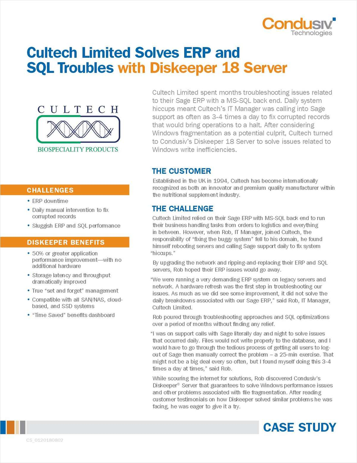 Cultech Limited Solves ERP and SQL Troubles with Diskeeper 18 Server