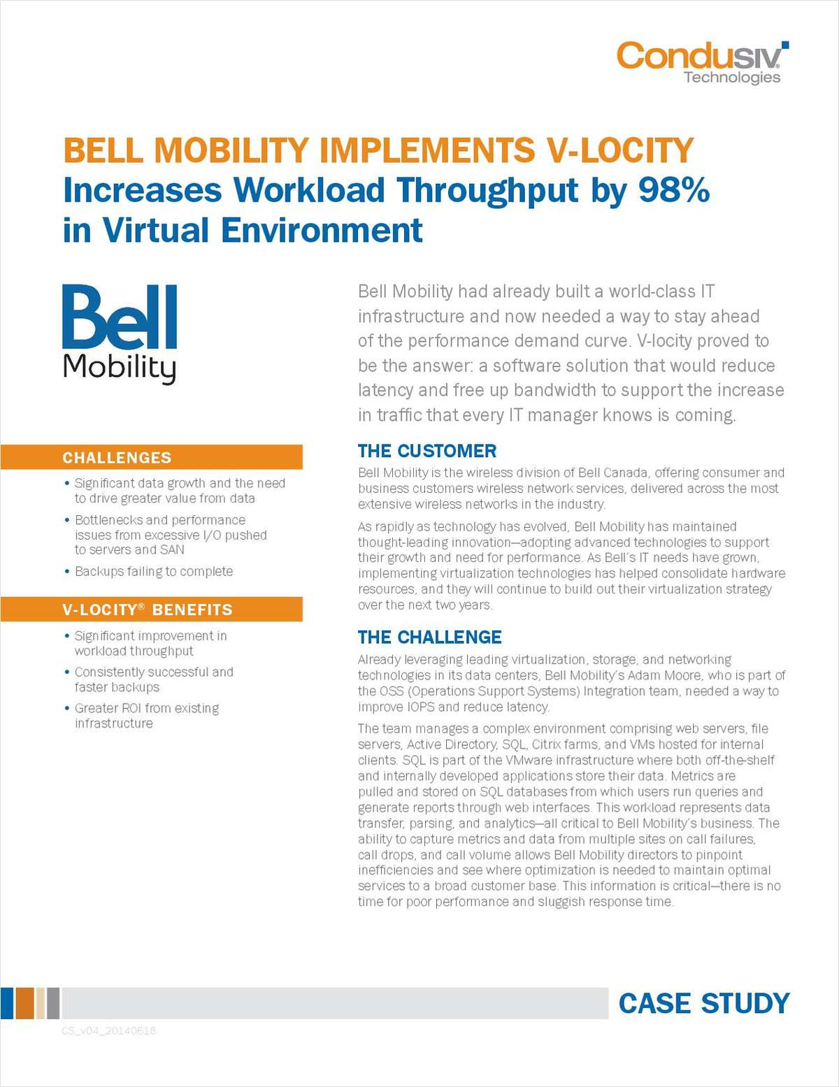 Bell Mobility Implements V-locity I/O reduction Software and   Increases Workload Throughput By 98%